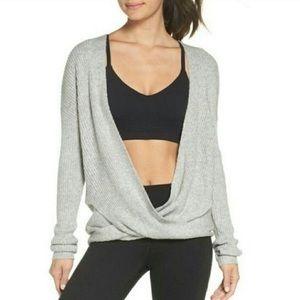 Zella Faux Wrap Grey Ribbed Yoga Sweater